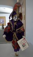 Collectors Choice Porcelain Jester Doll 16 Old Stock Clown Vtg 2000 Purple