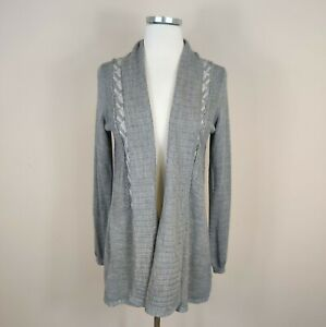 Anthropologie-Knitted-amp-Knotted-Wool-Open-Front-Cardigan-M-Medium-Gray