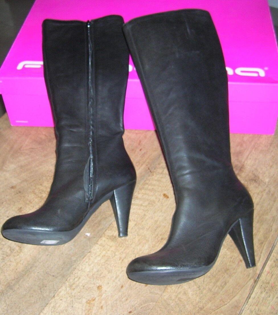 FORNARINA Schwarzes Schwarzes FORNARINA Leder-Stiefel neu Absatz 8cm Wert 220E Punkt 36,40 85691c