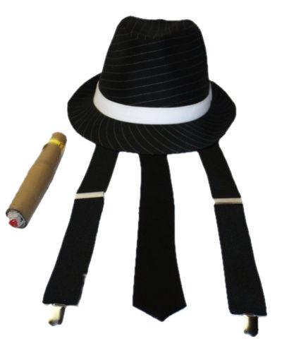 Gangster Trilby Hat Tie Braces and Cigar White or Black Mobster Fancy Dress