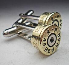 44 Magnum Remington Brass Engraved Bullet Head Cufflinks Wedding Best Man