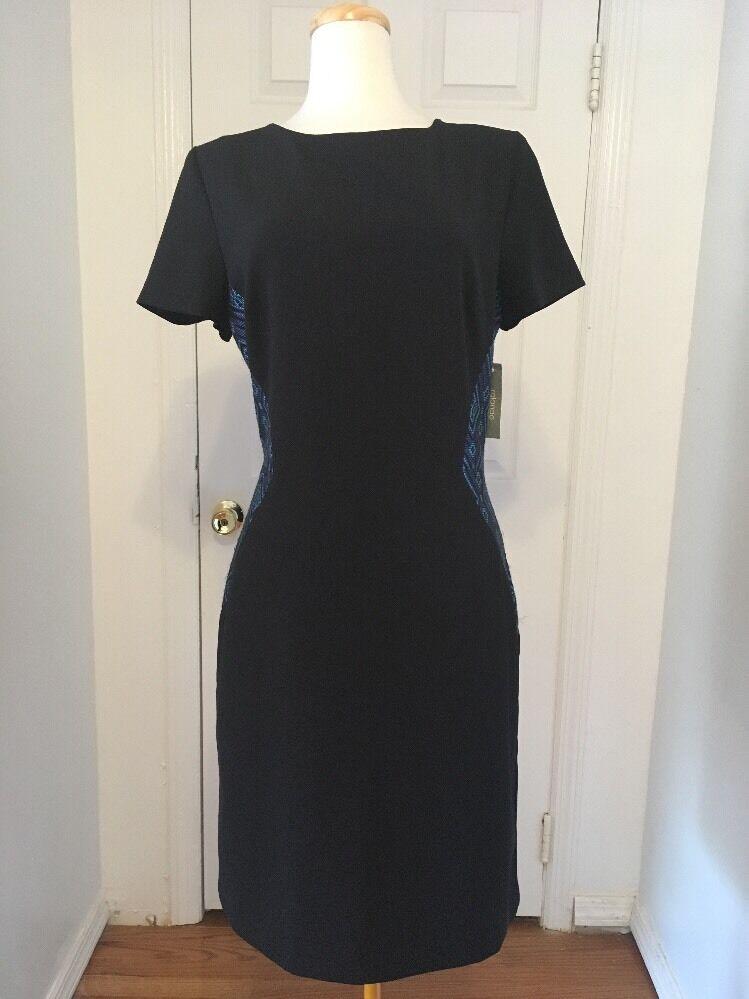 NWT schwarz Short Sleeve Rolando Santana Dress w  Blau Geometric Knit Detail Sz 14