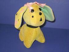 Vintage R Dakin Dream Pets Wendy Polka Dot Flower Dog HTF Yellow Velvet Japan