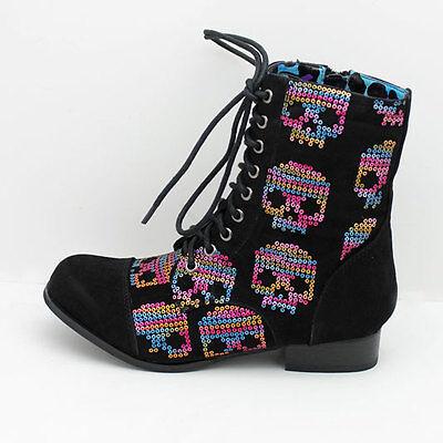 FDW Womens Iron Fist Sugar Hiccup Sequin Color Skulls Black Combat Boots Shoes