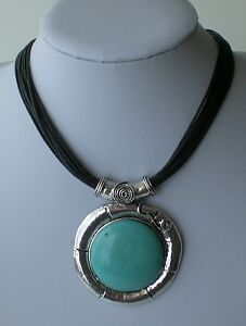 Multi-Black-Cord-Antiqued-Silver-amp-Turquoise-Abstract-Pendant-Lagenlook-Necklace