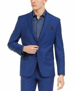 Bar III Mens Blazer Blue Size 34 Short Two Button Slim Fit Notched Wool $425 288