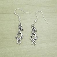 Vintage Silver Kokopelli Native Art Western Tribal Music Earrings Sterling Hooks