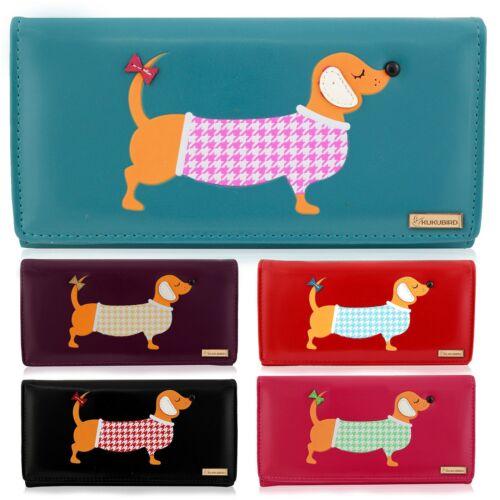 Kukubird Ladies Large cute Dachshund Dog Cartoon Designs Purse Wallet