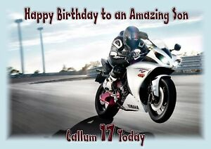 Image Is Loading Personalised Birthday Card Motorbike Son Grandson Husband Brother