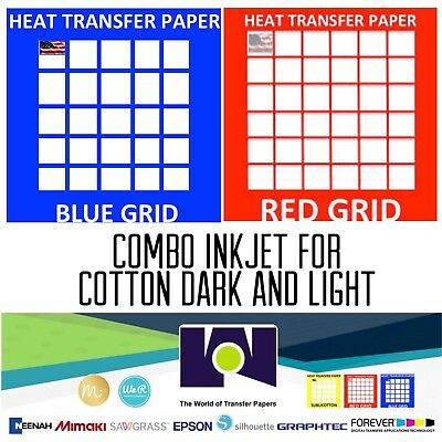 InkJet T-Shirt HEAT TRANSFER PAPER Combo 200 Sh Each  Dark /& Red Grid 8.5x11/""