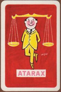 Playing-Cards-Single-Card-Old-ATARAX-MEDICINE-Advertising-Art-BALANCE-SCALES-Man