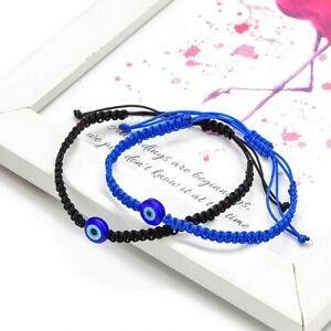 Blue Red Evil Eye Bracelet Black String Talisman Luck Protection Gift Men Women
