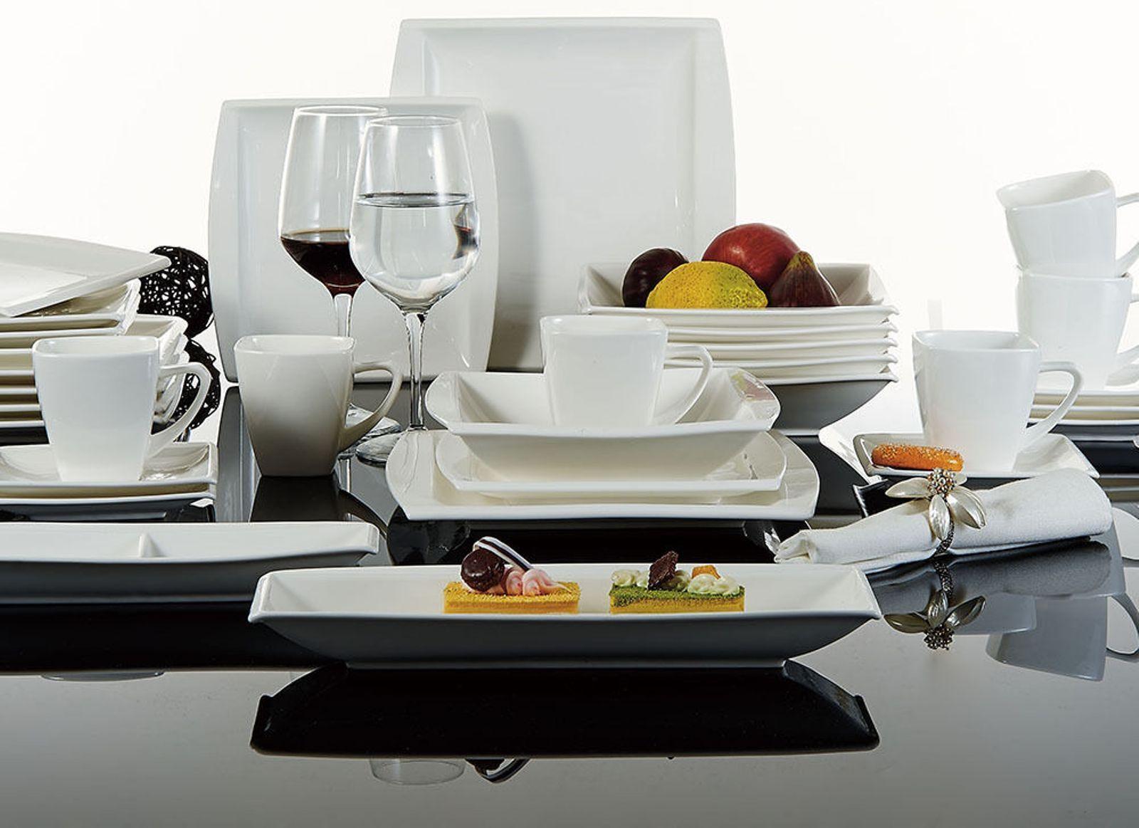 32pc Cena COMPLETO SET IN CERAMICA PIATTI TAZZE PIATTINI CUCINA DINNING Service Set