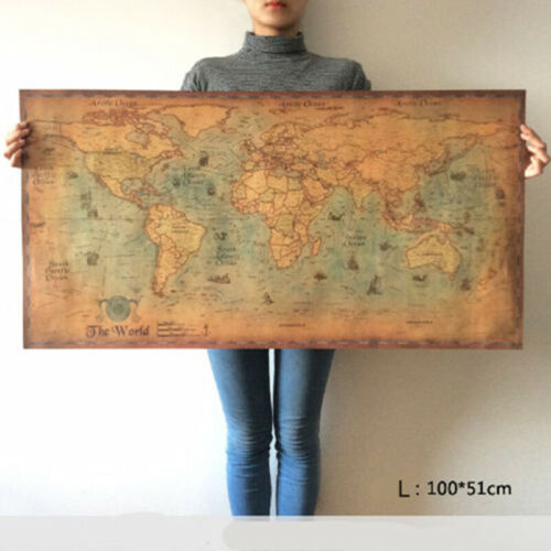 100x50cm WALL CHART PICTURE CHY WORLD MAP VINTAGE ANTIQUE STYLE LARGE POSTER