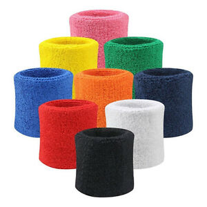 2X-Sweatbands-Wristband-Tennis-Squash-Badminton-Gym-Football-Wrist-Bands-SE