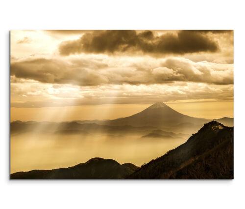 120x80cm Wandbild Fuji Berg Wolken Sonnenuntergang