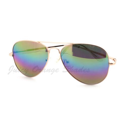 Rainbow Mirror Lens Aviator Sunglasses Thin Metal Classic Aviators