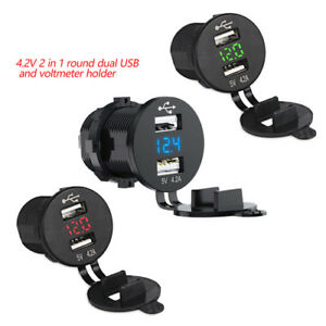 Dual USB Fast QC 4.2A Car Charger with LED Digital Voltmeter For Car Truck Boat