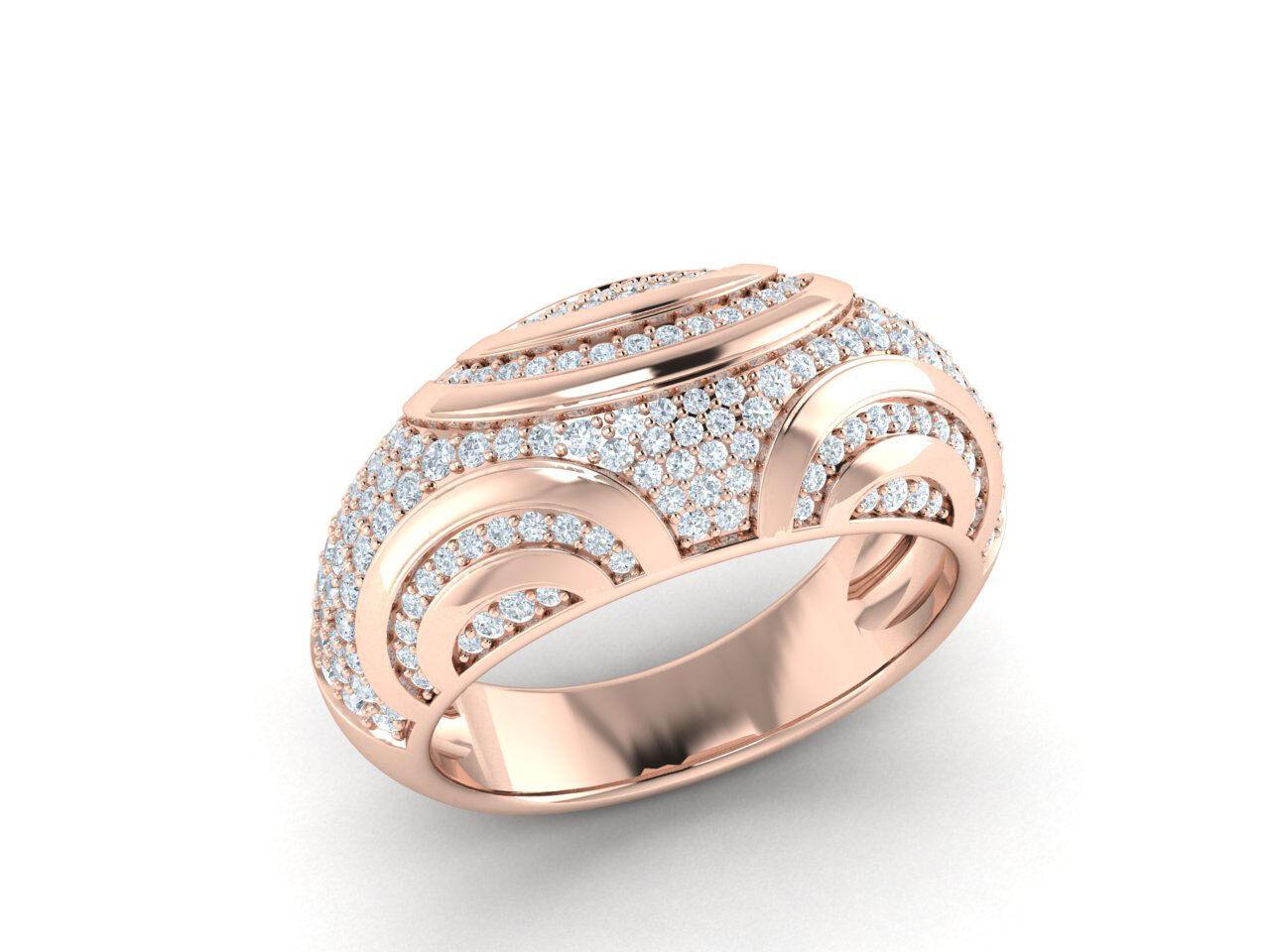 Natural 0.75ct Round Cut Diamond Bridal Pave Tellis Engagement Ring 14K gold