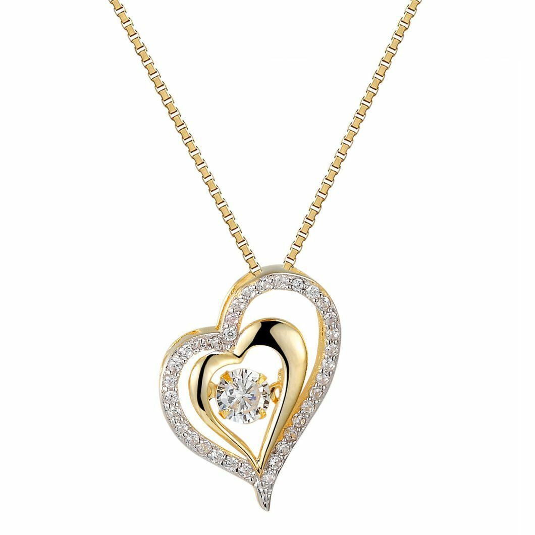 Valentine's Day Gift 14K Yellow gold Over Diamond Solitaire Heart Pendant Chain