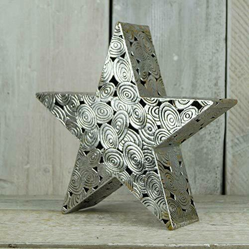 Antique Style Silver Metal Christmas Star Ornament Chic Wedding Table Decoration