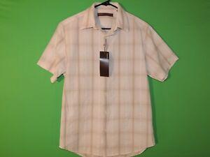 Calvin Klein Mens Size S Small Light Blue Striped Short Slv Button Shirt NEW