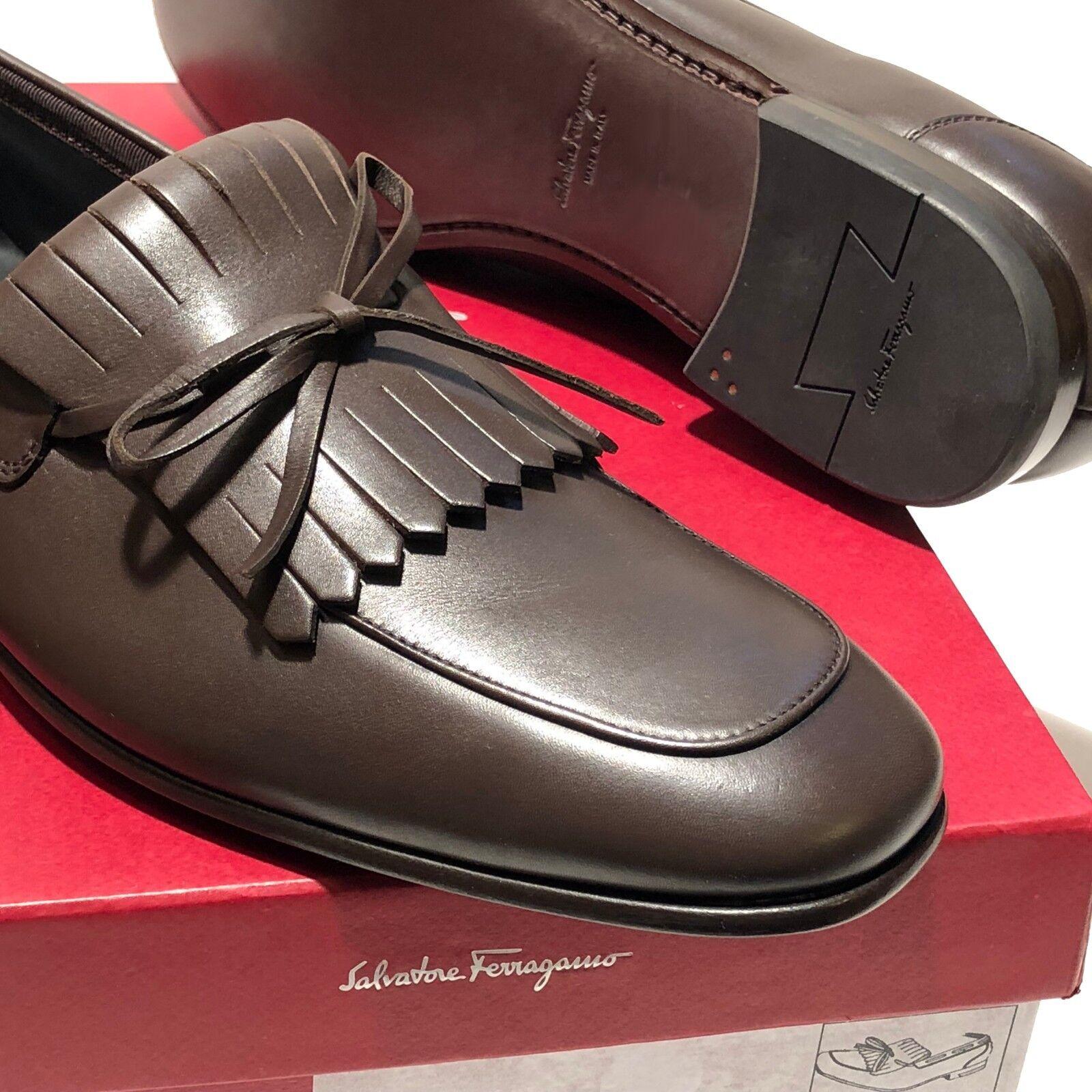in linea NEW FERRAGAMO Marrone Moccasin Leather Dress Loafers 8.5 EE 41.5 41.5 41.5 Uomo Casual 42  nuovi prodotti novità