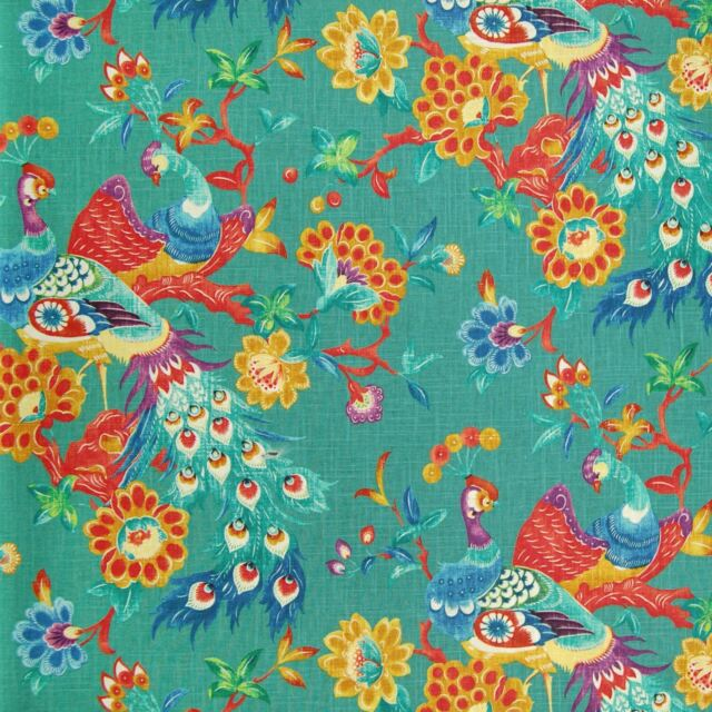 *SPECIAL SAMPLE* Richloom PREEN PEACOCK Teal Floral Home Decor Drapery Fabric