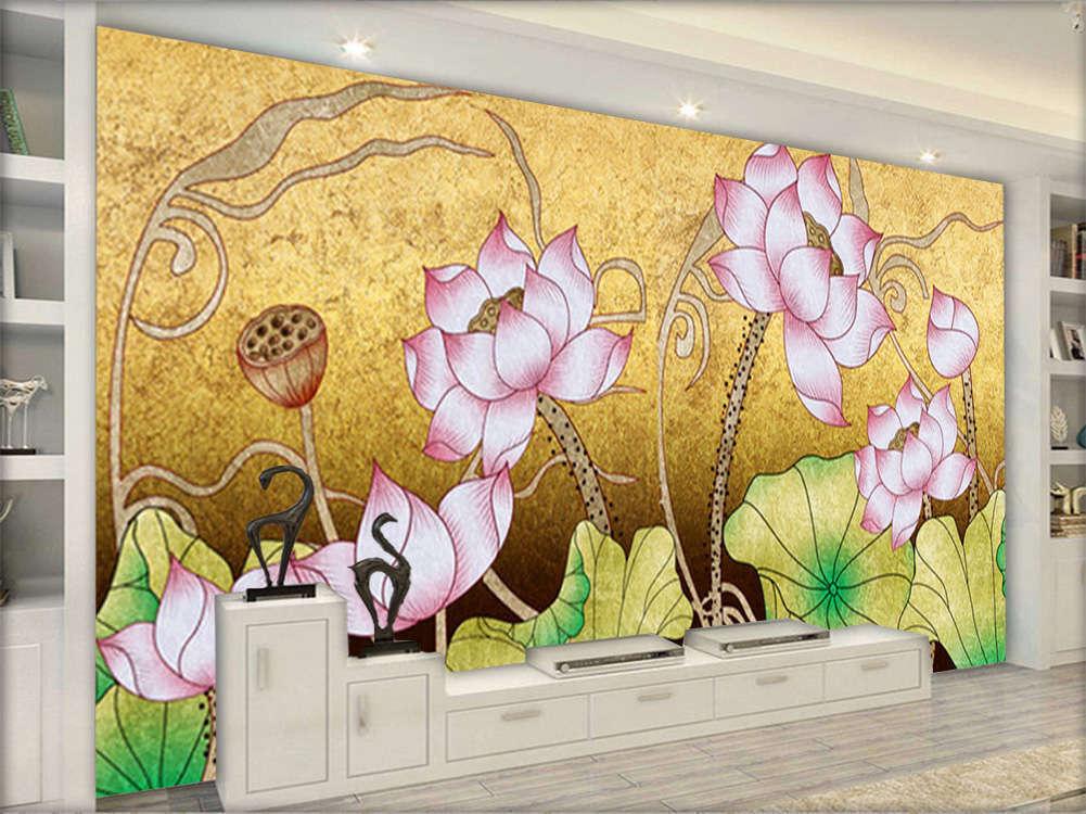 Vivid Noble Lotus 3D Full Wall Mural Photo Wallpaper Printing Home Kids Decor