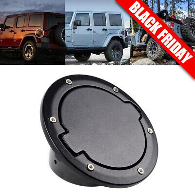 Black Gas Fuel Cap Door Tank Lid Cover Fits For 2007-2018 Jeep JK WRANGLER