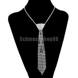 Damen Strass Krawatte Halskette Collier Modeschmuck Hochzeit Party