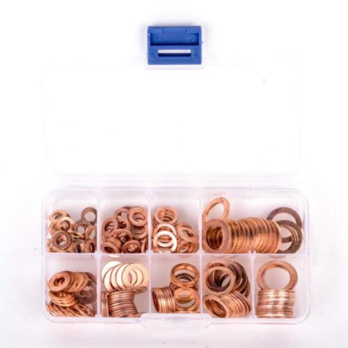 200PCS Copper Washers Gasket Set 9 Sizes Flat Ring Seal Kit Plastic Box Ring Oil