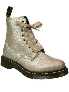 Dr-Martens-Doc-Pascal-PU-Pale-Gold-Glitter-8-loch-Boot-Stiefel-Glitzer-5140