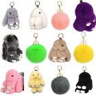 Bashful Bunny Doll Rabbit Fur Pom Key Chain Car Bag Charm Pendant