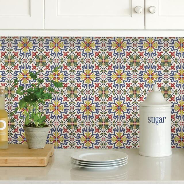 Peel And Stick Tile Self Adhesive Floral Wall Bathroom Kitchen Backsplash Multi For Sale Online Ebay