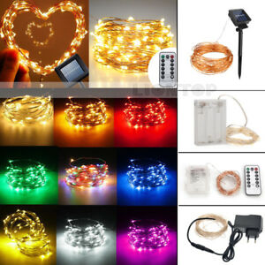 outlet store sale 032dd f7643 Details about Waterproof 2M-50M Battery/Solar/Plug LED Copper Wire String  Fairy Lights Xmas