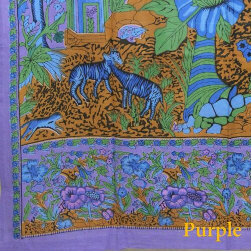 "Handmade Tree of Life Tab Top Cotton Curtain Drape Door Panel 44/""x 88/"" Purple"