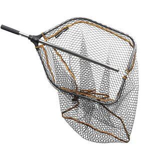 SF zusammenklappbarer Kescher ausziehbarer Teleskopgriff Gummi-Mesh-Faltung Forellenkescher f/ür Kajak