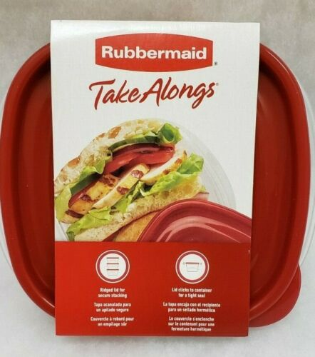 2.9 Cups 2 Squares Red Food Storage Containers Rubbermaid TakeAlongs