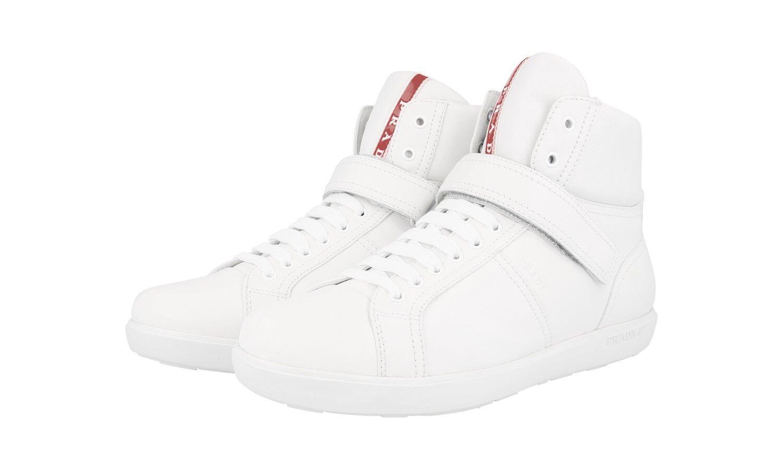 Auténtico Prada alta Top tenis zapatos 3T6349 blancoo Nuevo 40 40,5 Reino Unido 7