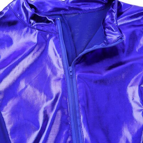 Frauen Lack Leder /& Mesh Bodysuit Glänzend Jumpsuit Overall mit Reißverschluss