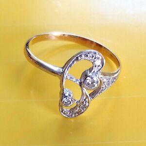 ANTIK-STIL-Exklusiver-Jugendstil-Ring-Echt-585-Gelbgold-Weissgold-Echte-Diamanten