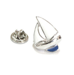 Blue Keeled Silver Yacht Design Lapel Pin Badge Sailing Boat Ship Badges New