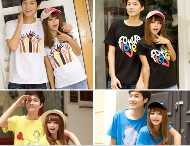 1 Set of Mens Womens Fashion Sweet Cotton Couple Lover T-shirt Tops 16 Type Gift