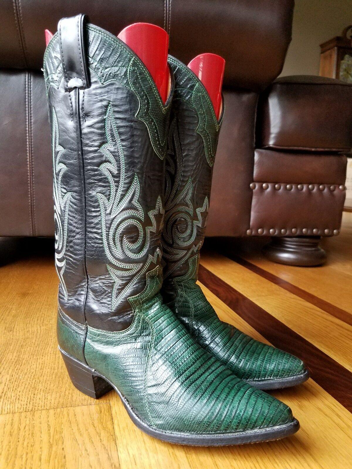 Justin BILLY MARTIN Woman's Grün Lizard Lizard Lizard Exotic Leather Cowboy Stiefel Größe 5.5 B 02362c
