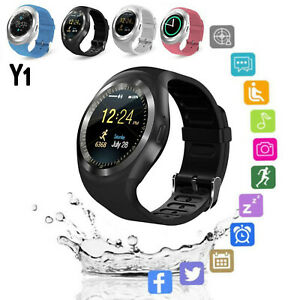 Bluetooth-Smart-Watch-GSM-SIM-Phone-Mate-Y1-Round-Touch-For-IOS-Android-Phone-US