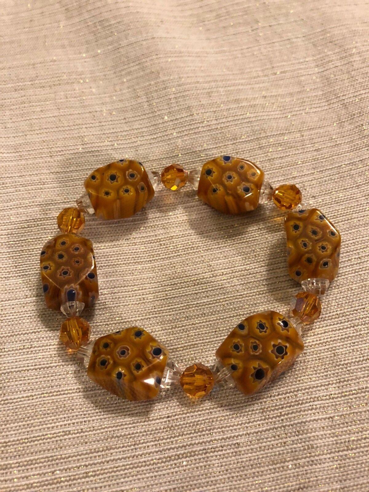 Vintage Millefiori Murano Handmade Glass Mosaic Bead Bracelet Yellows