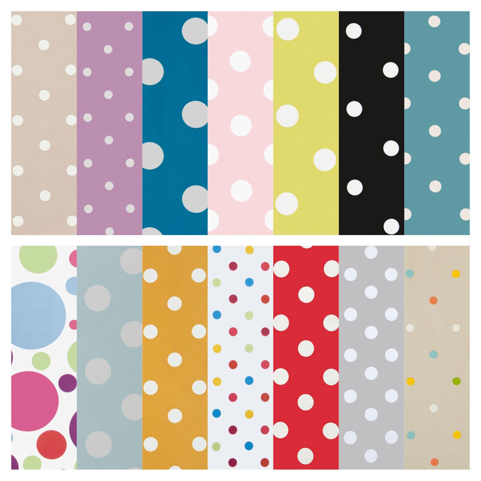 Dotty Blue Brown /& Green Polka Dot Spot Oilcloth Wipeclean PVC Vinyl Tablecloth