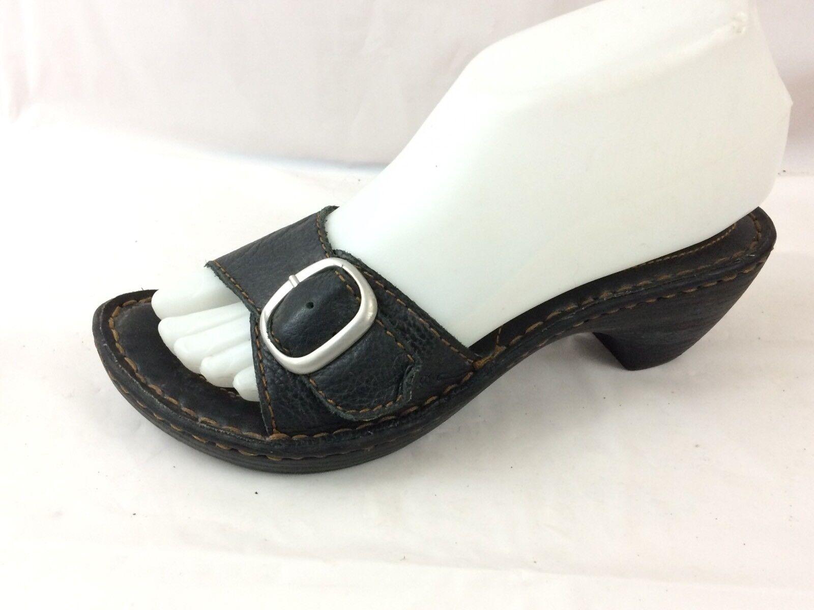 BOC Born Black Pebble Leather Buckle Slides Sandal Women 6 M Wedge Open Toe shoes