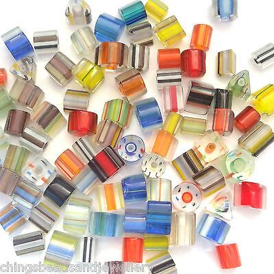 50g Hand Blown Art Glass Cane Beads Jewellery Making Approx 40 beads